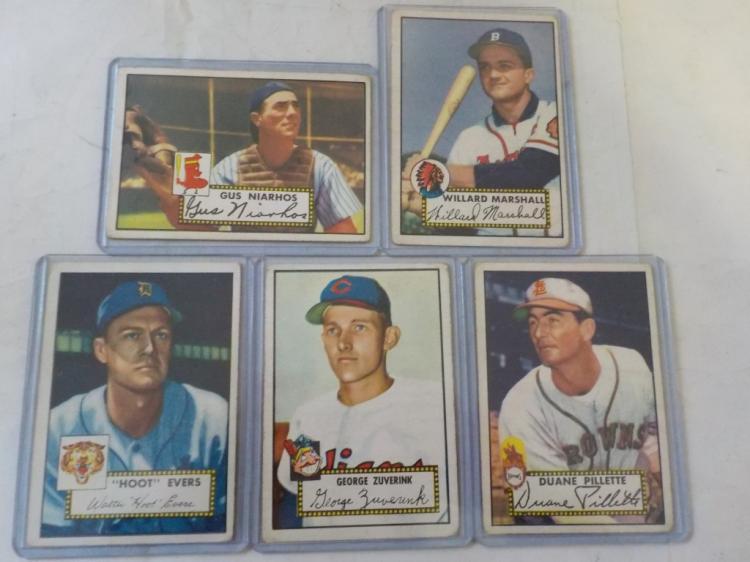5 1952 TOPPS Baseball Cards VG-EX