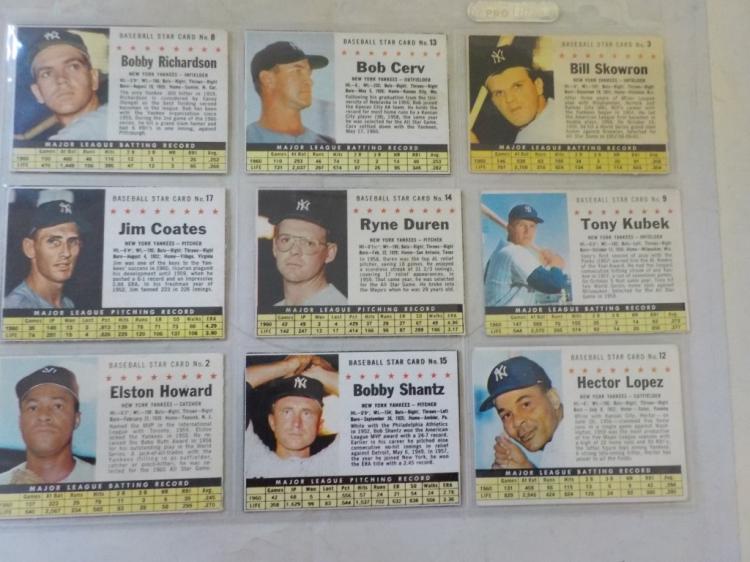 9 1961 Post Cereal Baseball Cards NY Yankees