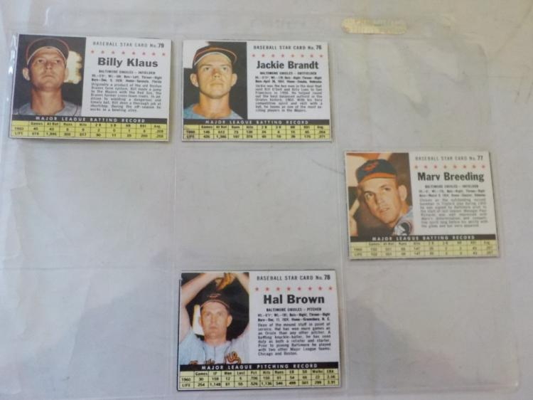 4 1961 Post Cereal Baseball Cards Baltimore Oriole