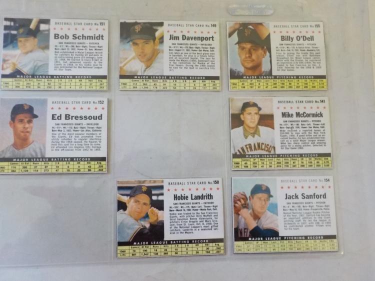 7 1961 Post Cereal Baseball Cards San Francisco