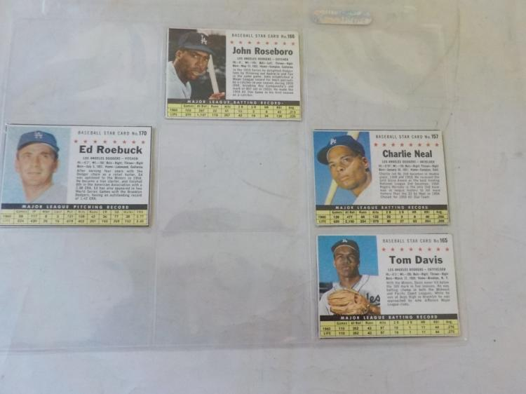 4 1961 Post Cereal Baseball Cards LA Dodgers