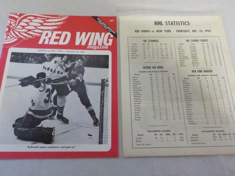 Red Wings vs Rangers 12/23/1965 Game Program