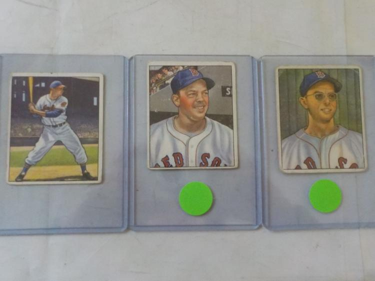 3 1950 Bowman Baseball Cards Low Numbers