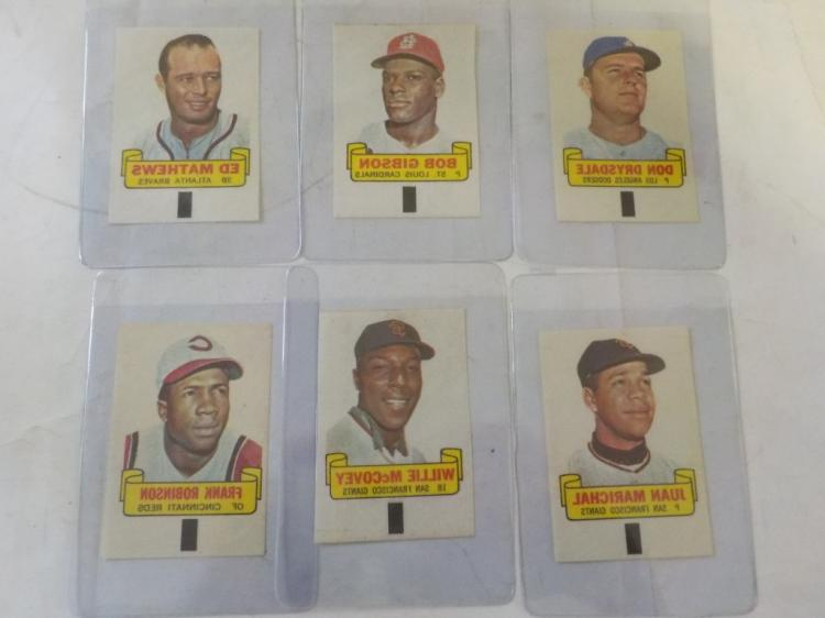 6 1966 TOPPS Baseball Rub Offs National League