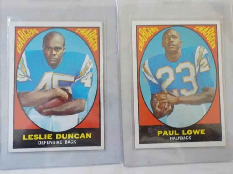 2 1967 TOPPS Football San Diego Chargers Stars