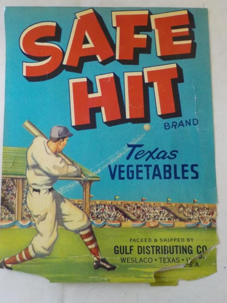 Safe Hit Texas Vegetables Advertisement