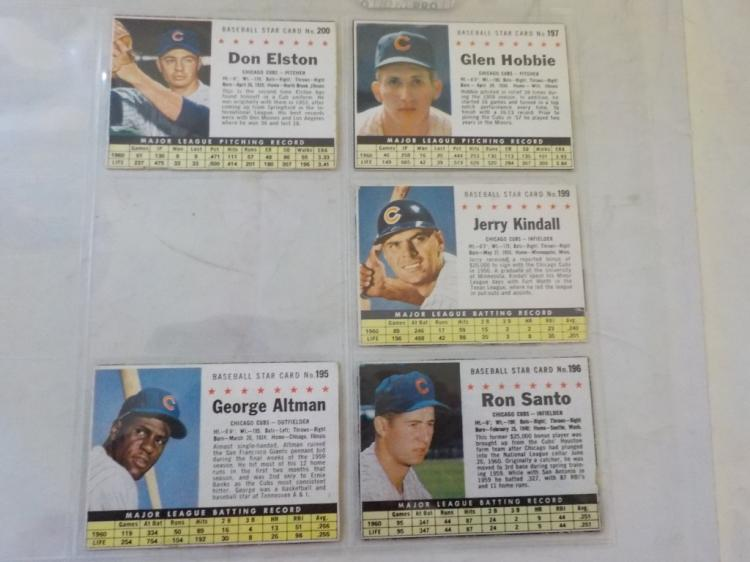 5 1961 Post Cereal Baseball Cards Chicago Cubs