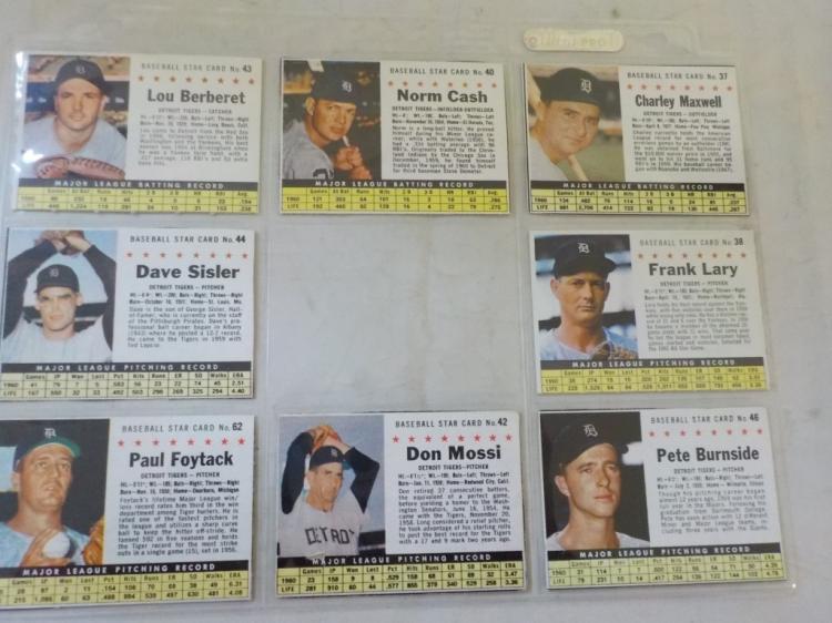 8 1961 Post Cereal Baseball Cards Detriot Tigers