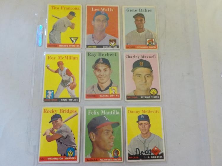 9 1958 TOPPS Baseball Cards G-VG
