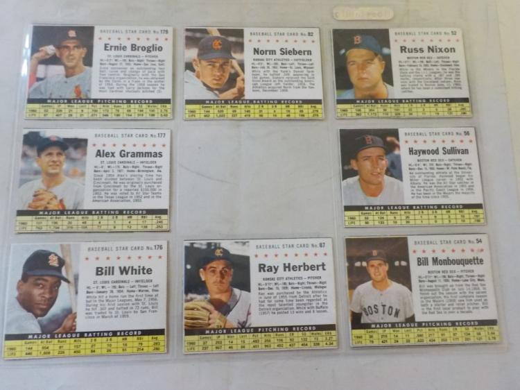 8 1961 Post Cereal Baseball Cards