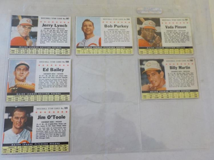 6 1961 Post Cereal Baseball Cards Cincinnati