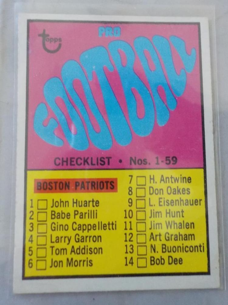 1967 TOPPS Football Checklist No 1-59