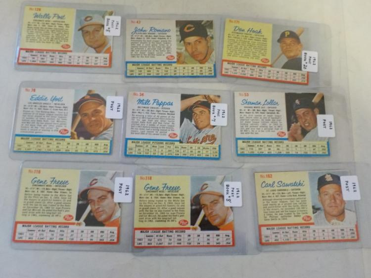 9 1963 Post Cereal Baseball Cards - Sharp