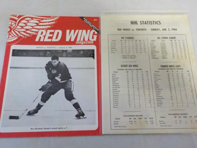 Red wings Vs Maple Leafs 1/2/1966 Game Program
