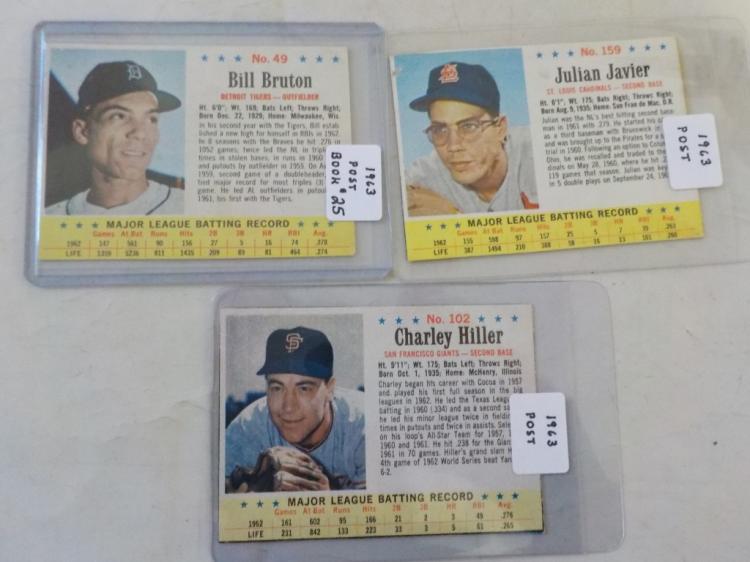 3 1963 Post Cereal Baseball Cards - Sharp