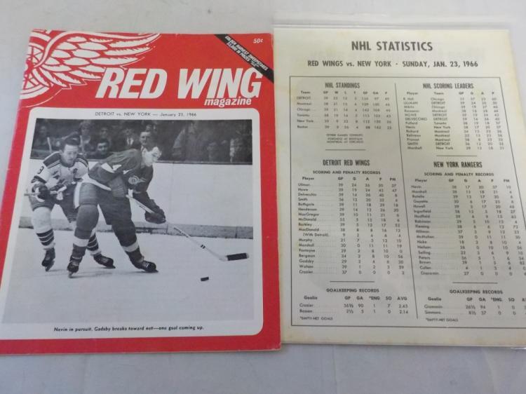 Red Wings vs Rangers 1/23/1966 Game Program