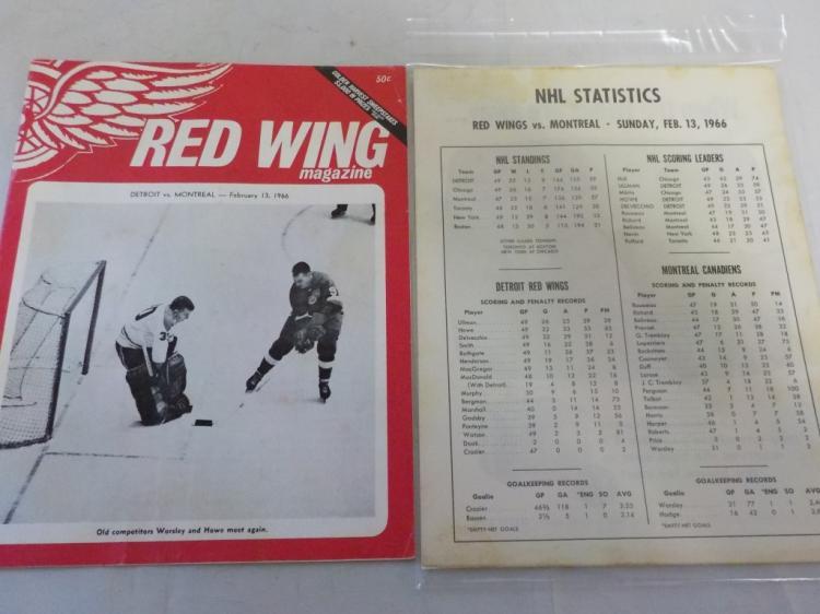 Red Wings vs Canadiens 2/13/1966 Game Program