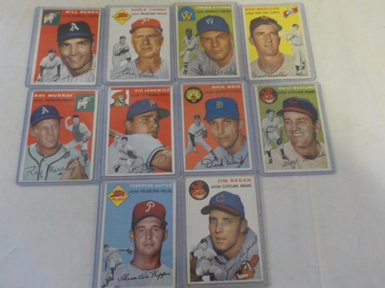 10 1954 TOPPS Baseball Cards VGEX-EX