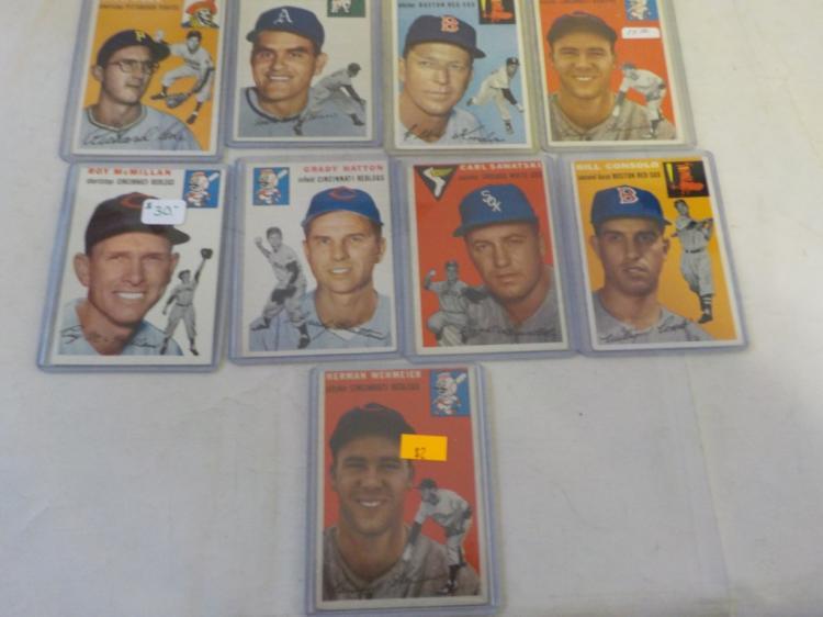 9 1954 TOPPS Baseball Cards EX-EX+
