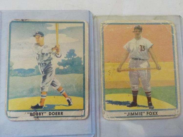 2 1941 Playball (HoF) Jimmy Foxx, Bobby Doerr Card