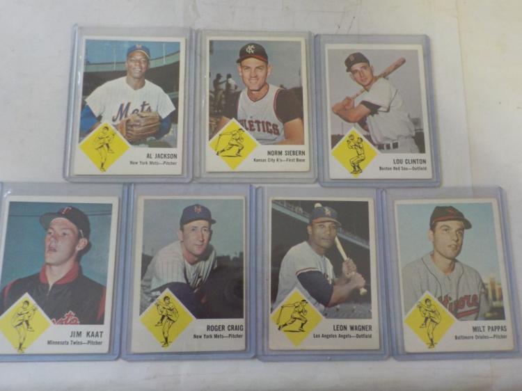 7 1963 Fleer Baseball Cards Ex and Better