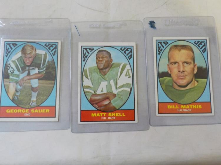 3 1967 TOPPS Football NY Jets Stars NM or better