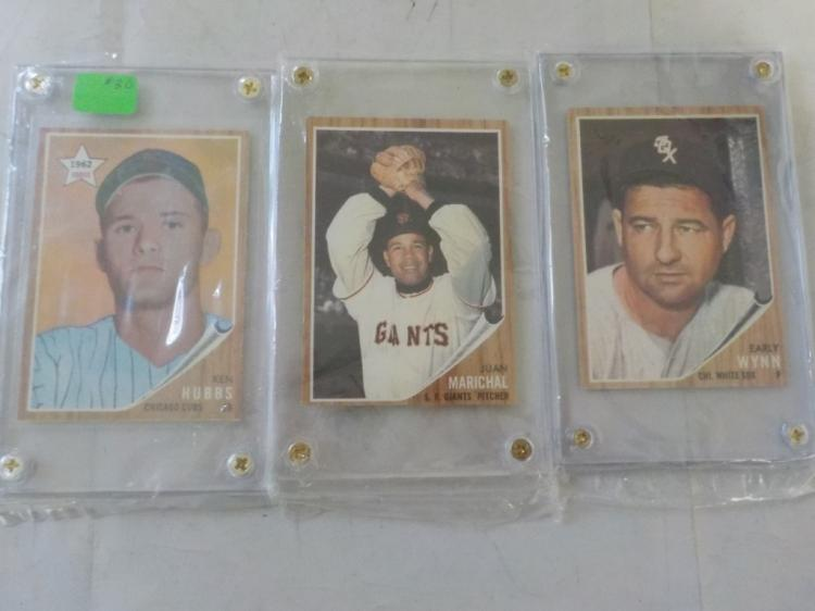 3 1962 TOPPS Wynn, Marichal, Hubbs (R)