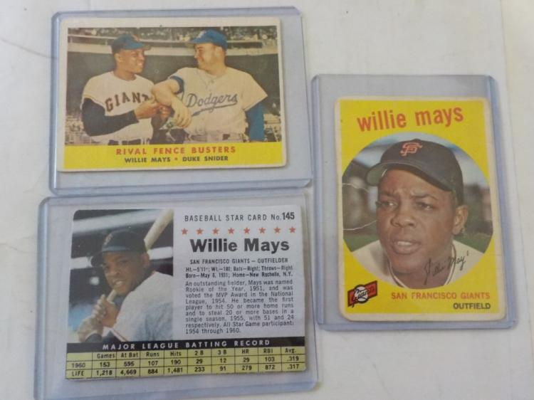 3 Vintage Will Mays Cards