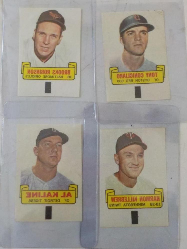 4 1966 TOPPS Rub Offs Baseball Superstars