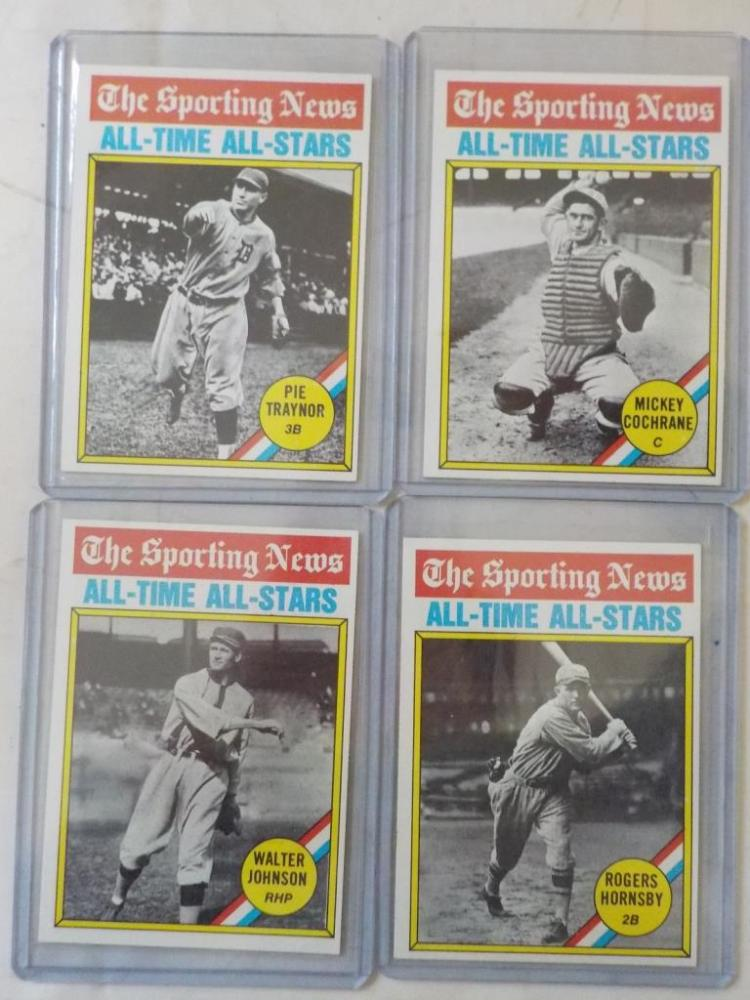 4 1976 TOPPS Sporting News All-Time All Star Cards