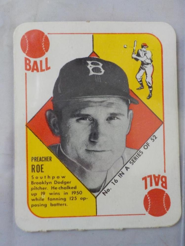 1951 TOPPS Red Back Preacher Roe Card