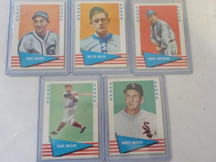 5 1961/62 Fleer Baseball Greats Cards