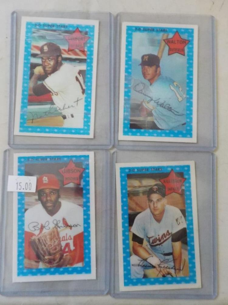 4 1971 Kellogg's 3-D Cards # 55,22, 51, 72