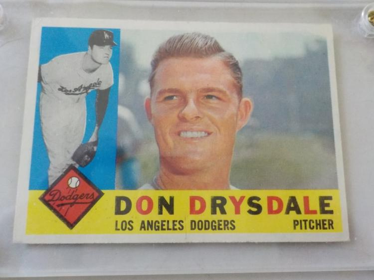 1960 TOPPS Don Drysdale #475 Card Very Sharp