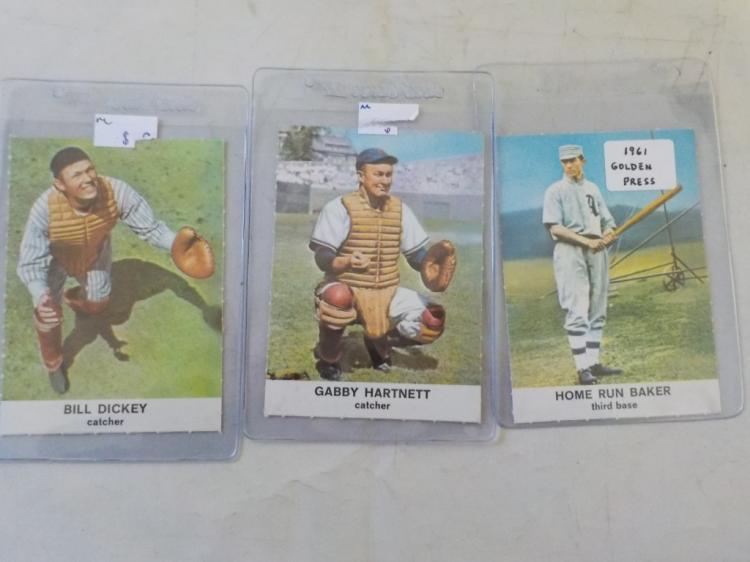 3 1960 Golden Press Baseball HoF Cards -Sharp