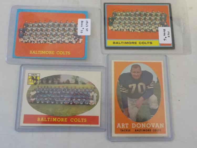 4 1958-63 Baltimore Colts TOPPS Football Cards