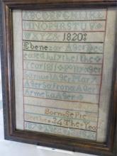 1820 Framed Hand Embroidered Sampler