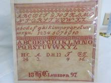 3 Hand Embroidered Samplers 1897 Claussen