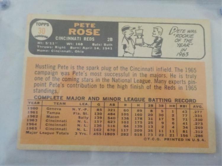 1966 Topps Pete Rose 30 Baseball Card Ex