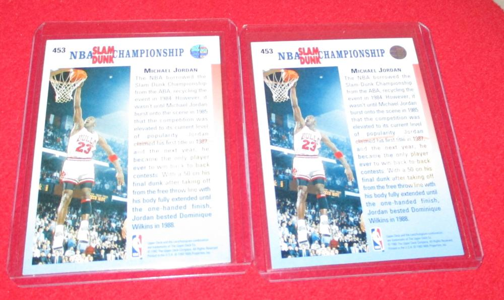 1992-93 Upper Deck Jordan 1985 1990 Slam Dunk Error