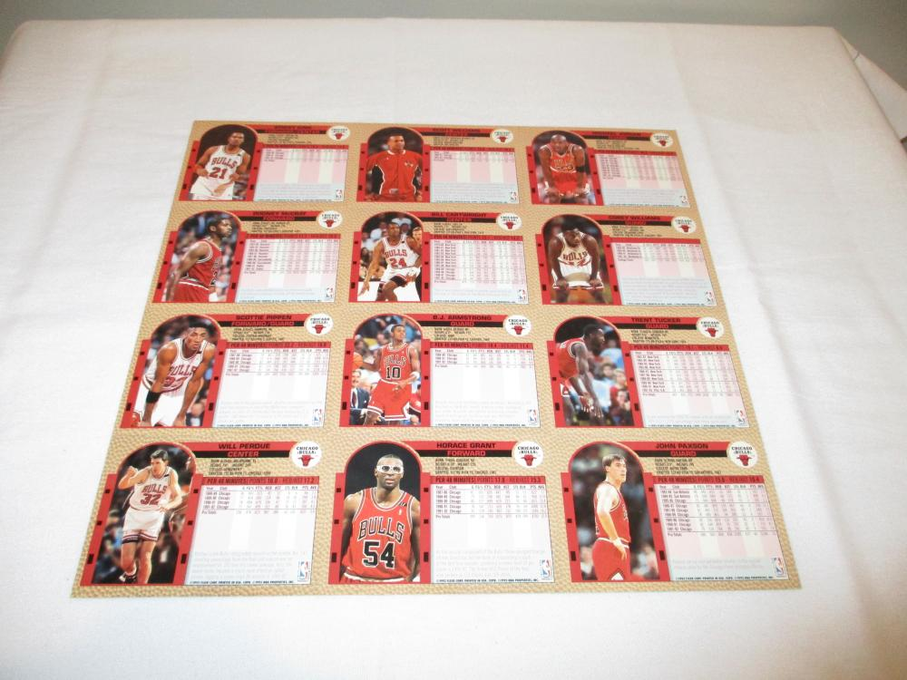 1992-93 Fleer Chicago Bulls Uncut Sheet of Cards Shell *Back 2 Back*