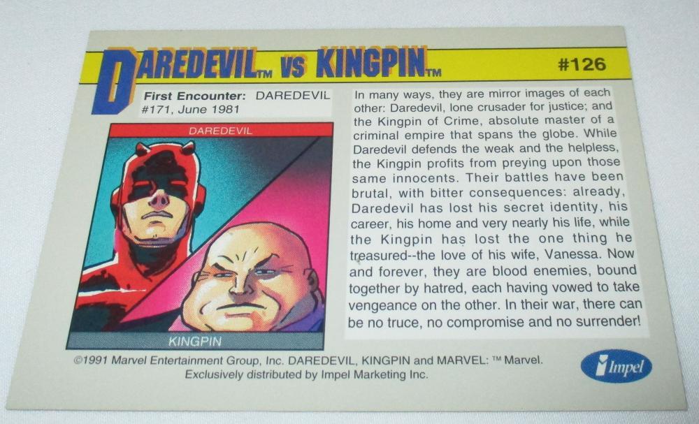 1991 MARVEL IMPEL DAREDEVIL KINGPIN SIGNED BY ROMITA JR