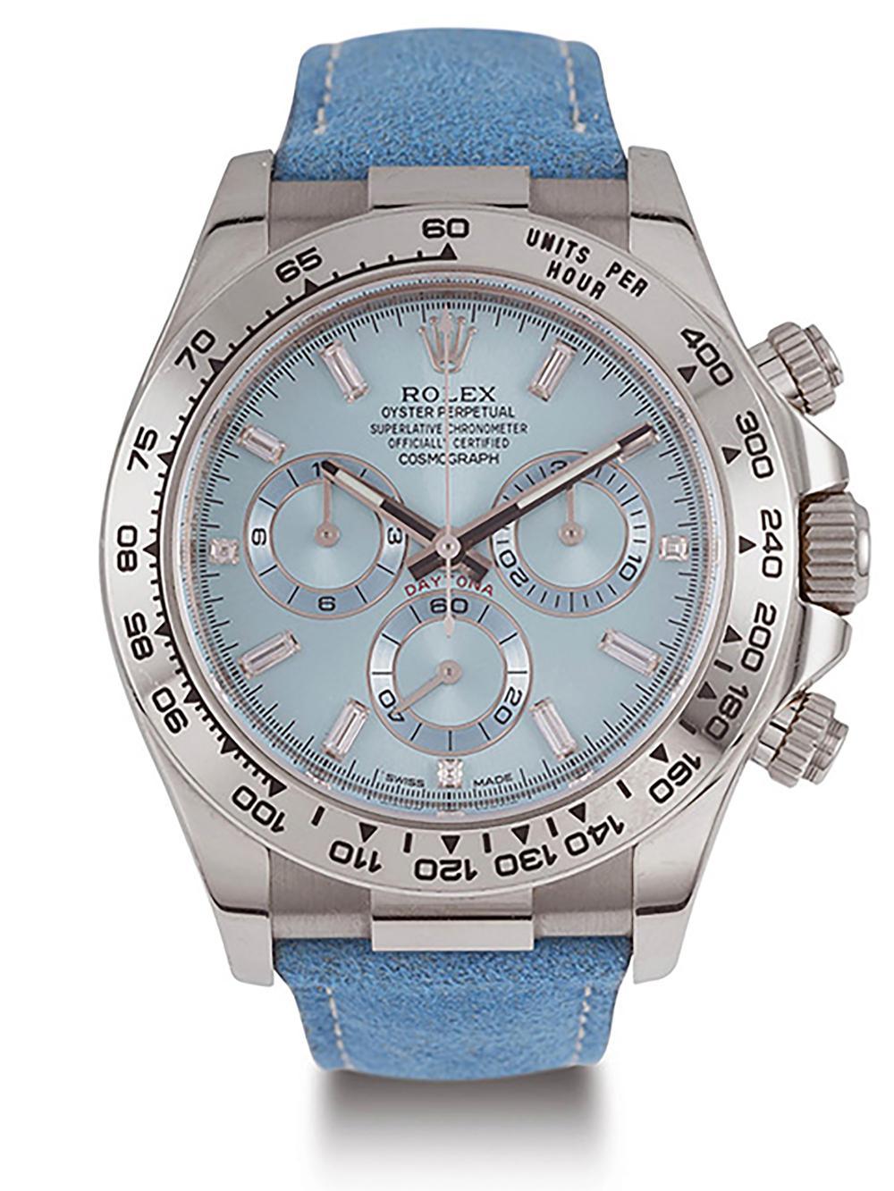 """00cbe3e479300 ROLEX - PROPERTY OF ELLEN DEGENERES - Ref.116519 """"Baguette Diamonds"""" blue  jeans"""