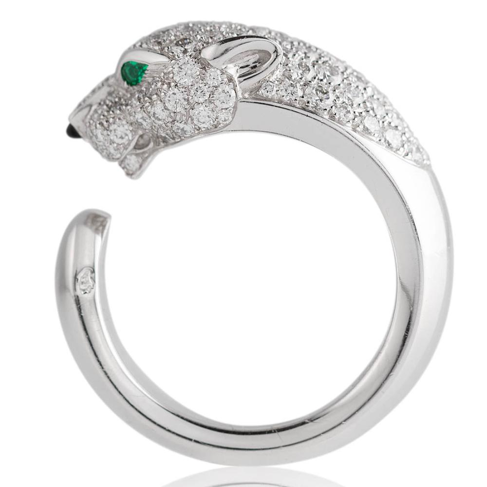 77c0629b1a404 Cartier – Desirable white-gold diamond emerald and onyx ring