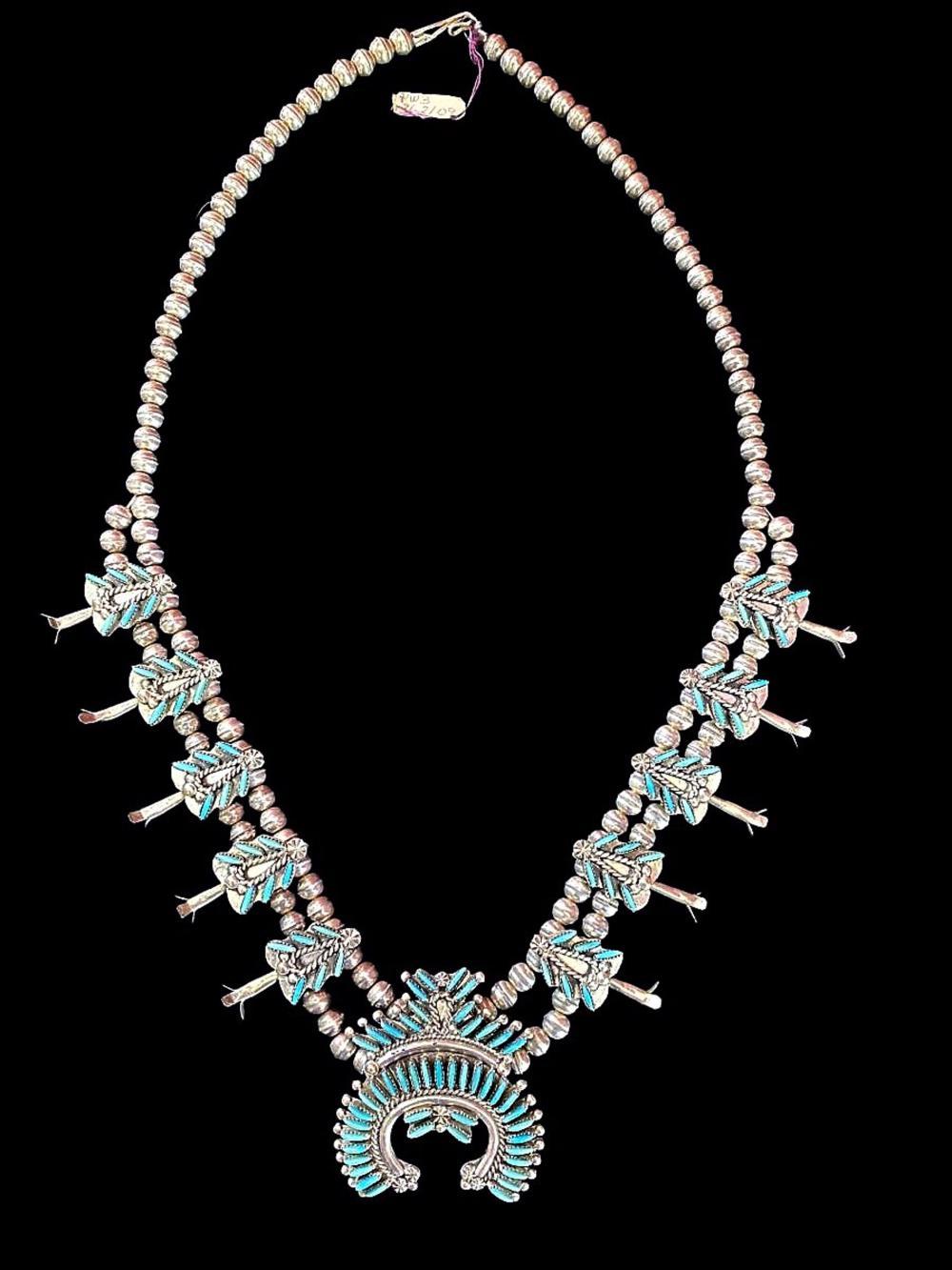 Signed Eva L Wyaco Zuni Squash Blossom Necklace