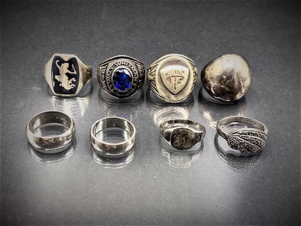 8pc Vintage Sterling Rings