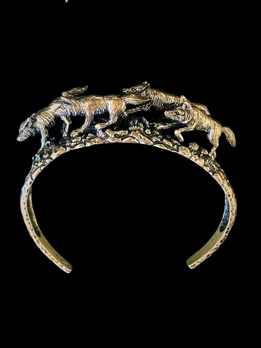 Vintage Artist Marked Sterling Wolf Bracelet
