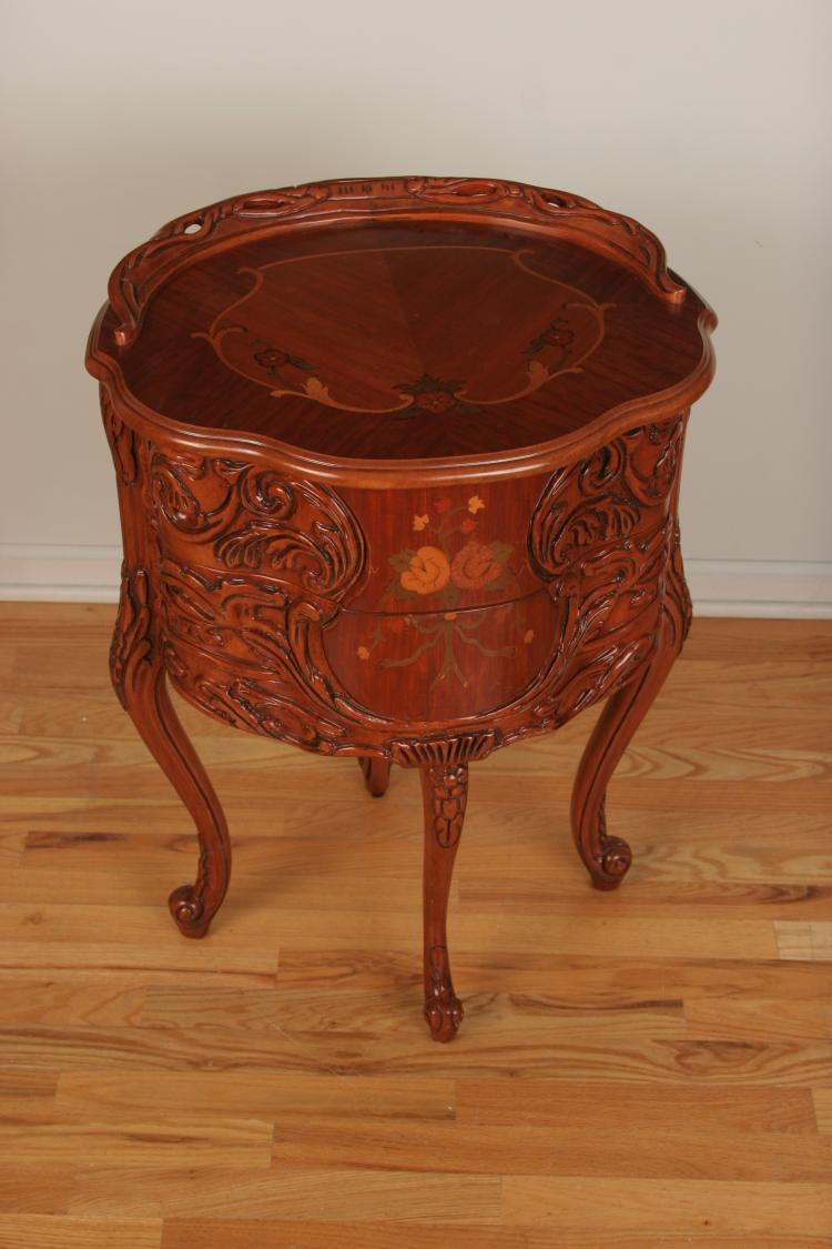 Carved Wood French Provincial Marquetry Inlay Table   French Walnut Finish