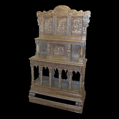 Hand Carved Silver Leaf Oak Cabinet