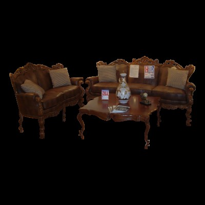 3 Piece Solid Carved Wood Living Room Set